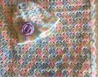 Baby girl | crochet blanket | hat | set