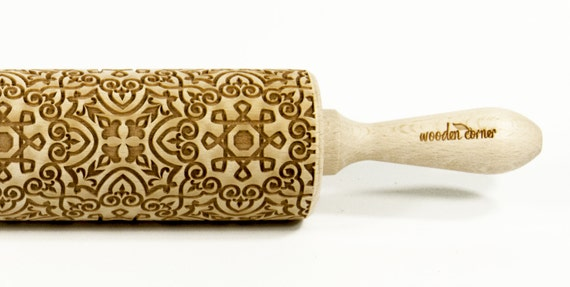 Alhambra 9, BIG Rolling Pin, Engraved Rolling, Rolling Pin, Embossed rolling pin, Wooden Rolling pin