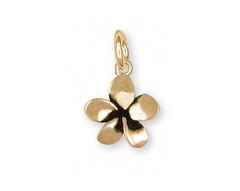 Plumeria Charm Jewelry 14k Gold Handmade Flower Charm PLM1-CG