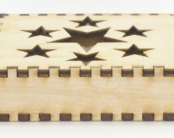 SPECIAL OFFER Beautiful Star Design Wooden Gift Box for Small Jewellery Items