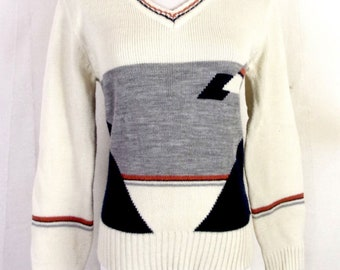 vtg 70s Montage RETRO women's Geometric Knit V-Neck Sweater Jumper sz M