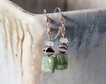 Green Kyanite earrings   Green Silver earrings   Green Kyanite   Gift for Her   Green Kyanite Crystal   Green Kyanite Gemstone earrings