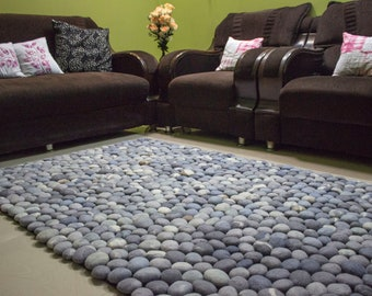 Wool stone rug, Felt stone rug, Pebble rug, Stone rug, Slate grey rug