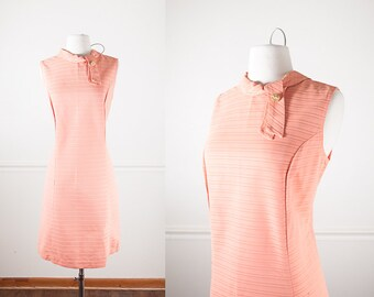 60s Mod Shift Dress, Peach Dress, Wiggle Dress, Mid Century Sheath Dress, 60s Dress, Mod Dress, Coral Dress, 50s Dress, Rockabilly Clothing