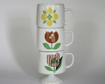 vintage 1960s pedestal coffee mugs