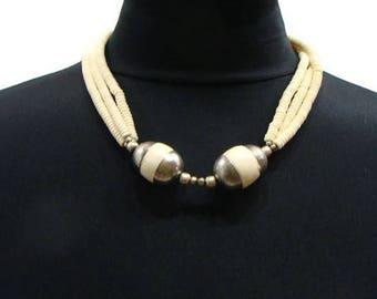Vintage Cream Bead Necklace Vintage Beaded Necklaces Vintage Bone Bead Necklace Vintage Collar Necklace Boho Collar Necklace