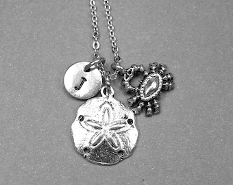Sand dollar necklace, crab necklace, beach wedding, sea life, sea shell charm, simple everyday jewelry, summer jewelry, initial necklace