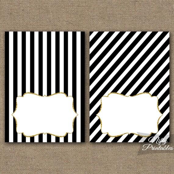 Black White Tent Cards Black Place Cards Printable Black