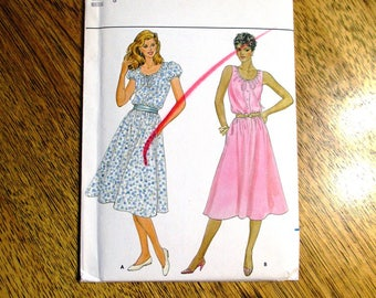 "VINTAGE 1980's Summer Peasant Dress / BOHO Summer Fit and Flare Sundress - Size 8 (Bust 31.5"") - UNCUT Retro Sewing Pattern Butterick 4388"