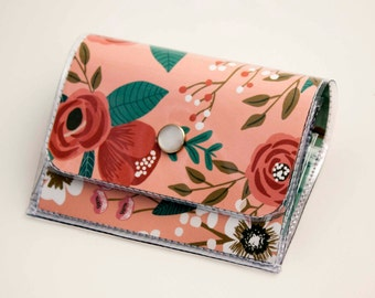Handmade Vinyl Accordion Wallet - Botanical Pink / small wallet, snap, cute, card case, vinyl wallet, women's wallet, floral, pink, gift