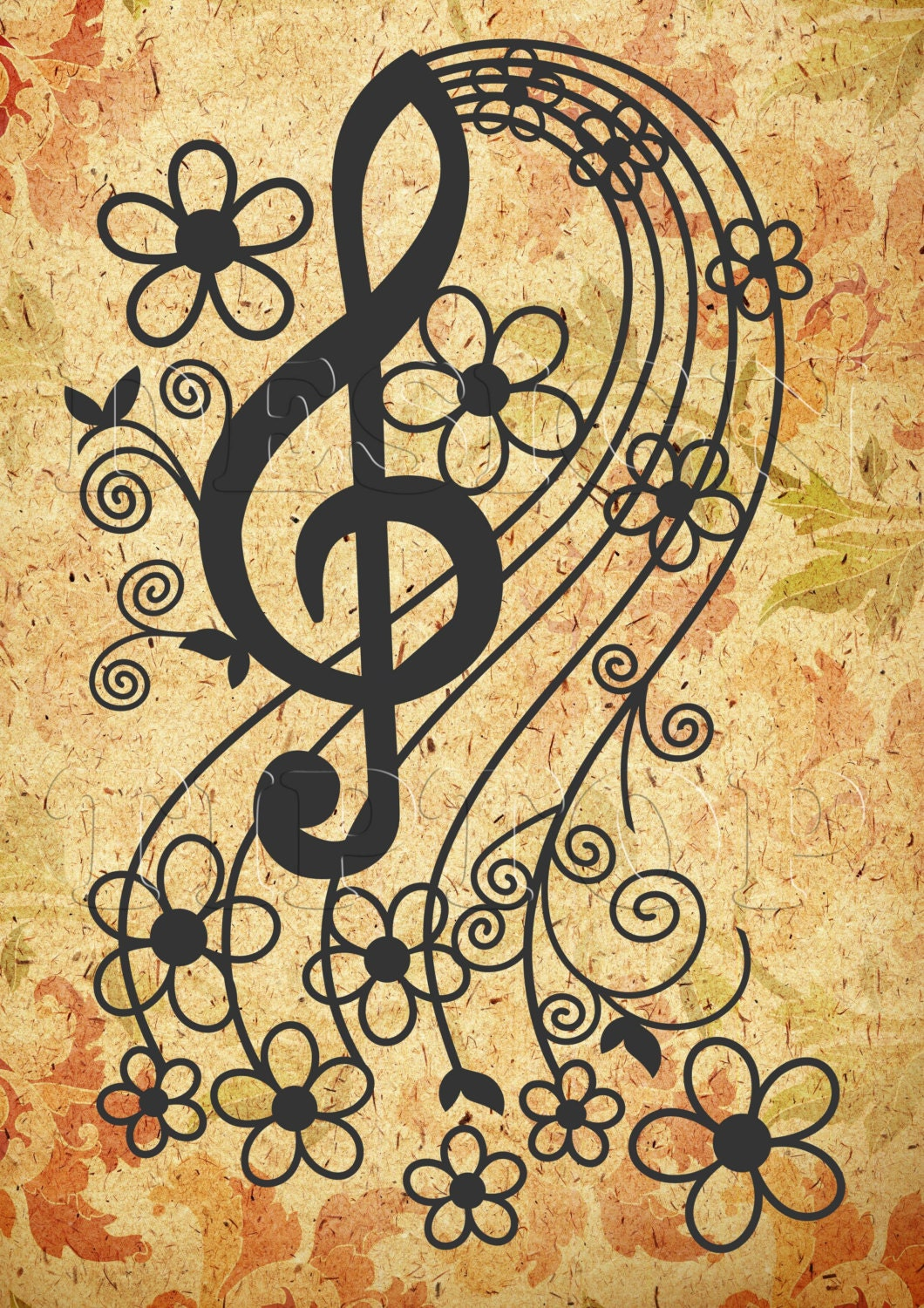 Music key SVG svg dxf png eps cut and print Silhouette