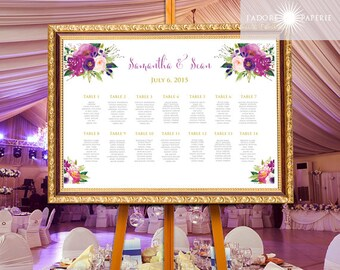 Floral Seating Chart, Purple Seating Chart, Calligraphy Seating Chart, Printable Chart, Seating Chart, DIY Seating Chart, jadorepaperie