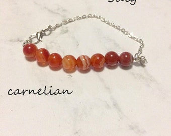 crystal healing Carnelian bracelet/anklet/necklace, birthstone bracelet  gemstone bar bracelet, crystal bar bracelet   singer's stone