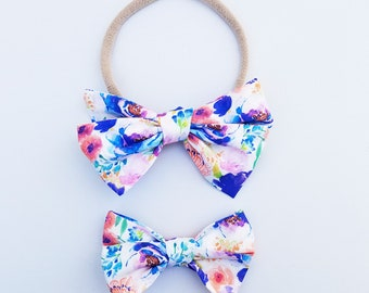 Violet watercolor Emmie Bow Headband or Clip