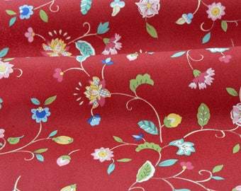 Brick red background x 50cm cotton gabardine fabric