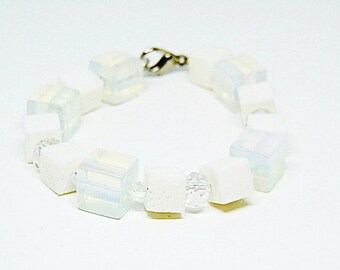Opalite,Coral,And Crystal Bracelet,Opal Bracelet,Coral Bracelet,Crystal Bracelet,Opalite Bracelet,Opalite Jewelry,Opal Jewelry,Swarovski