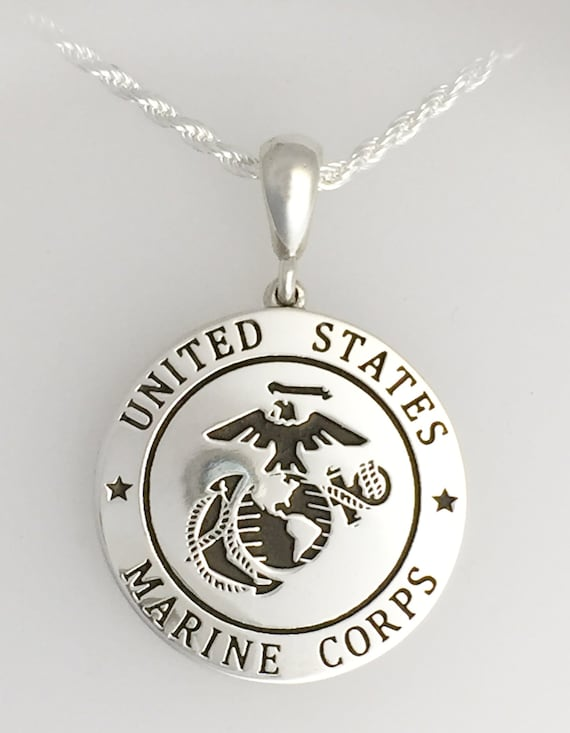 Solid continuum silver usmc eagle globe and anchor necklace aloadofball Choice Image
