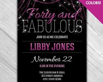 40th birthday invitations Etsy