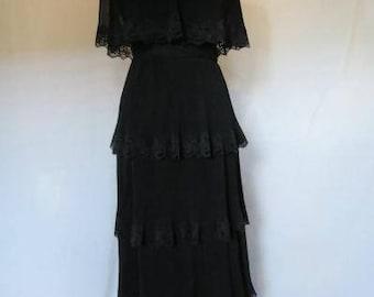 Tiered Accordion Pleated Black Chiffon Vtg Miss Elliette Maxi Gown Dress