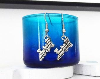3D TRAIN EARRINGS - train dangle earrings - surgical stainless steel ear wires - hypoallergenic, sensitive ears earring wires