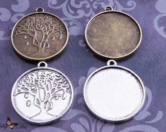 4 1 inch (25mm) Round Blank Bezel Cabochon Settings - Resin Settings - Tree of Life Pendant Trays