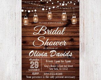 Mason Jar Bridal Shower Invitation,Rustic Bridal Shower Invite,String of Lights and Mason Jars Bridal Shower Invitation,Rustic Invitation 36
