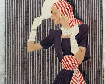Vintage 40s Vogue Pattern Book Magazine Couturier 1940s Fashion Catalog June / July 1940