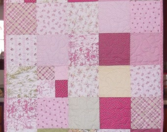 Baby quilt, pink quilt, girls quilts, quilted, cotton