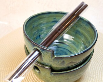 Noodle - Rice Bowl with Chopsticks (Set of Two) Ready to Send