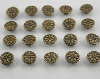 50 pcs Antique Brass Vintage Flower Rivets StudsButtons Rapid Rivet  9 mm. FW BR 9 19 RV 3