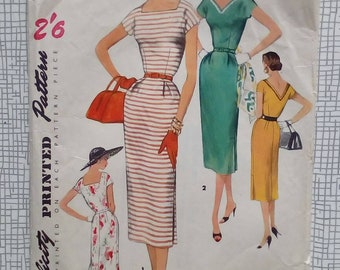 """1950s Dress - 32"""" Bust - Simplicity 1155 - Vintage Sewing Pattern"""