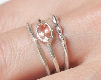 Silver Sunstone Rising Tide Ring Set  | Stering Silver Ring Set |  Nature Inspired Rings