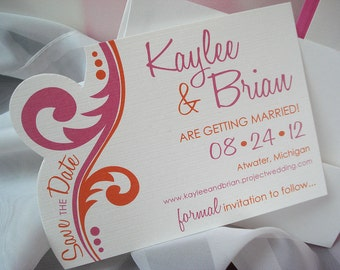 Pink Orange Hand Cut Swirl Shape White Fuchsia Fuschia Vine Modern Affordable Caldendar Customization Save the Date Card or Magnet... Sample