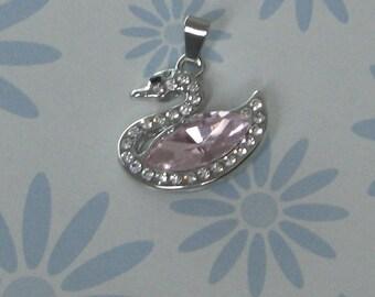 Light Pink Rhinestone Swan pendant
