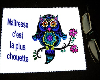 """Cloth wipes glasses with message """"centerpiece is the OWL"""" mod 1"""