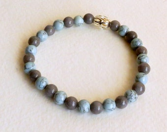 Gray Jade and Sky Blue Magnesite Stretch Bracelet with a Silver Plated Bead, Smokeylady54