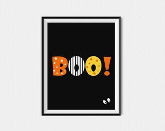 Halloween Printable Boo Sign,  Digital Halloween Decor, Halloween Wall Art Print,  Halloween Party Decoration BOO! Print, Fall Wall Art