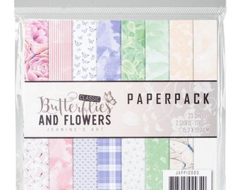 Butterflies and Flowers, 6 x 6 Paper Pack, Scrapbooking, Card Making,  Mixed Media, Mini Album