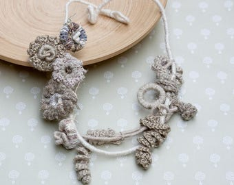 Beige flower necklace, crochet statement jewelry with bamboo beads, OOAK