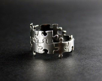 Puzzle Ring - Handcrafted Sterling Silver Ring