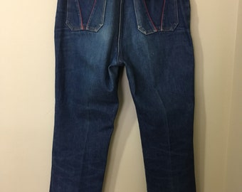 RARE! 1970s Fancy Props denim jeans by Wilkins! SUPER high waisted! Size small.