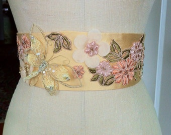 Bridal sash belt gold silk yellow butterfly embroidered