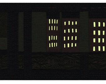 """SALE!   Lights - 8.5""""x11"""" glow-in-the-dark digital Giclee print from original artwork with hand-painted glow accents"""