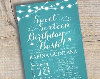 Sweet Sixteen Invitation - Quinceanera Invitation - Aqua / Teal Chalkboard - Printable