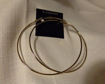 LARGE 3.5 inch gold Electro-plated HOOP earrings Gold Tone Earrings Electroplated Lightweight Hoops