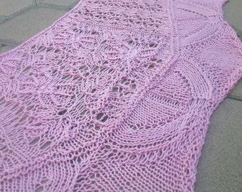 Petal Pink Fleur Botanique 100 Percent Pima Cotton Hand Knit Lace Shawlette