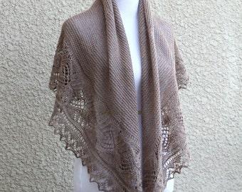 Knit shawl pattern, knitting pattern, Freesia shawl, Lace shawl beige shawl, tutorial, pattern, PDF