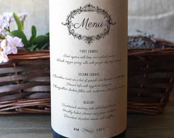 Wedding Menu Wine Bottle Labels - Wedding Menu Wine Labels - Wedding Menu - Pack of 4 Labels