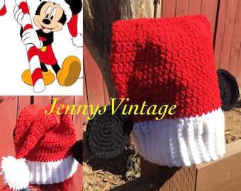 Mickey Mouse Santa Hat, Mickey Mouse Christmas Hat, Mickey Mouse Slouchy Hat, Disney Christmas Hat, Mickey Mouse Beanie, Mickey Mouse Santa
