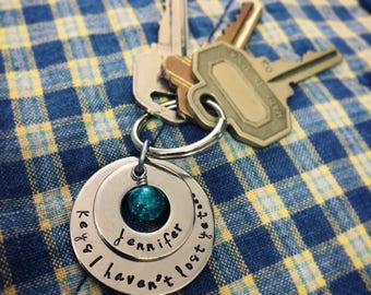 Hand stamped stainless steel washer ornament, necklace, or keychain